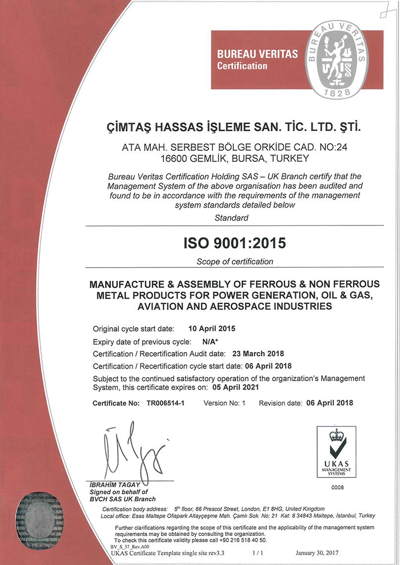 Cimtas Certification