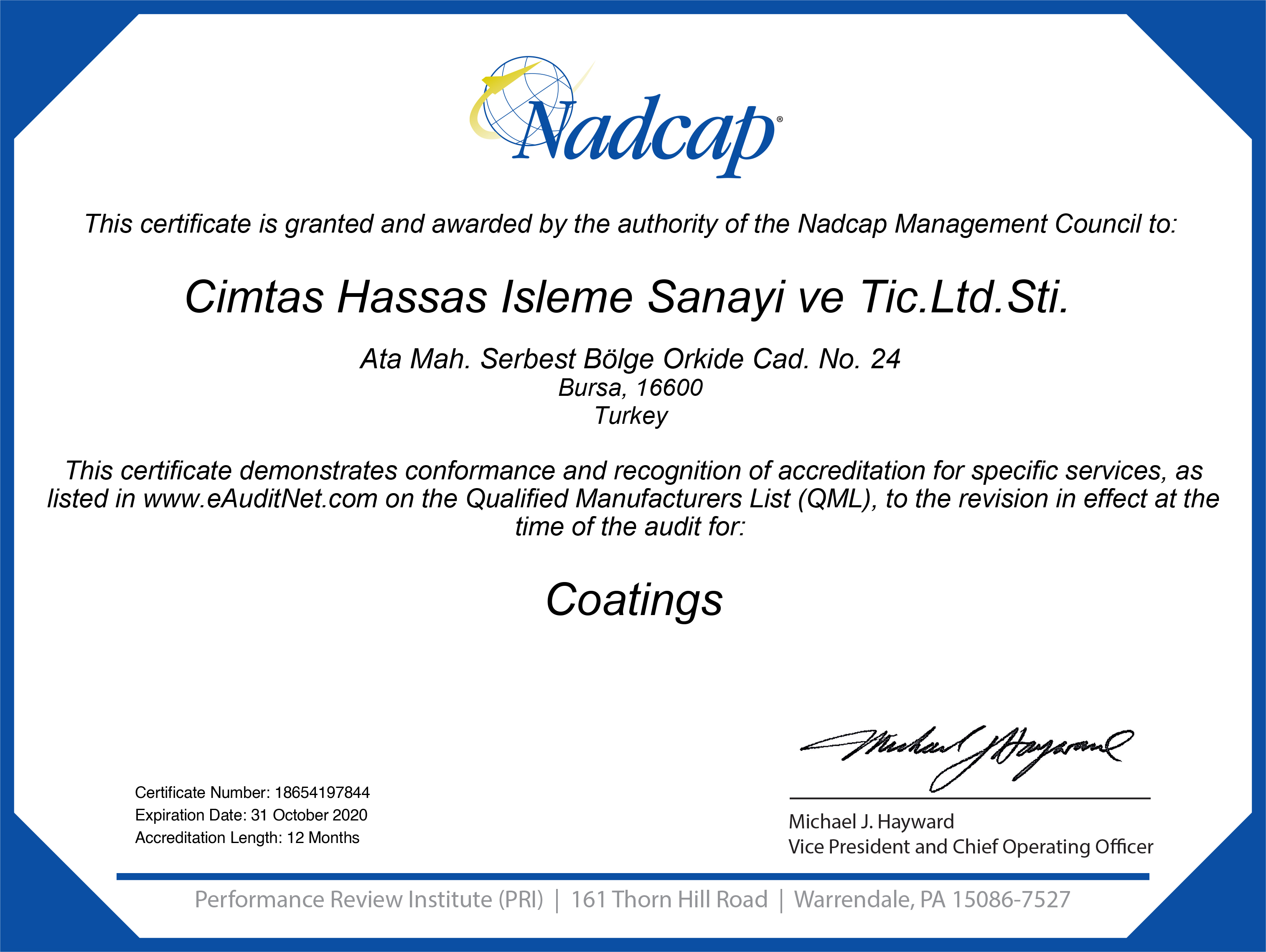 'Nadcap certificate CT Audit #197844
